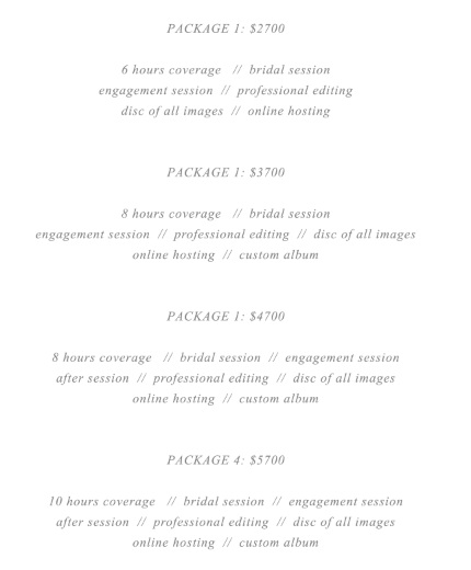 9 Free Sample Wedding Photography Price List Templates – Printable