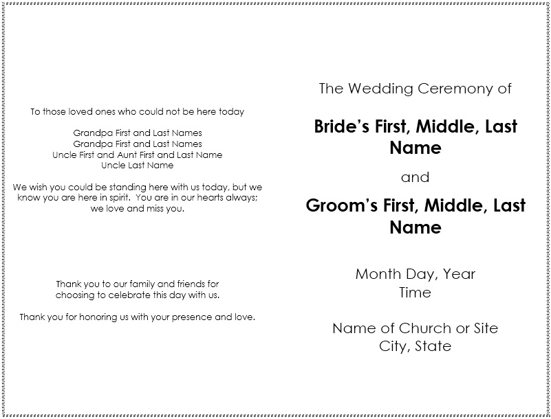 Free Sample Wedding Brochure Templates  Printable Samples
