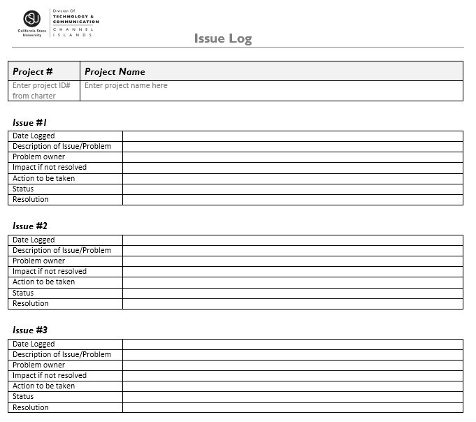 Here Is Preview Of Another Sample Issue Log Template Created Using MS Word,  Project Log Template