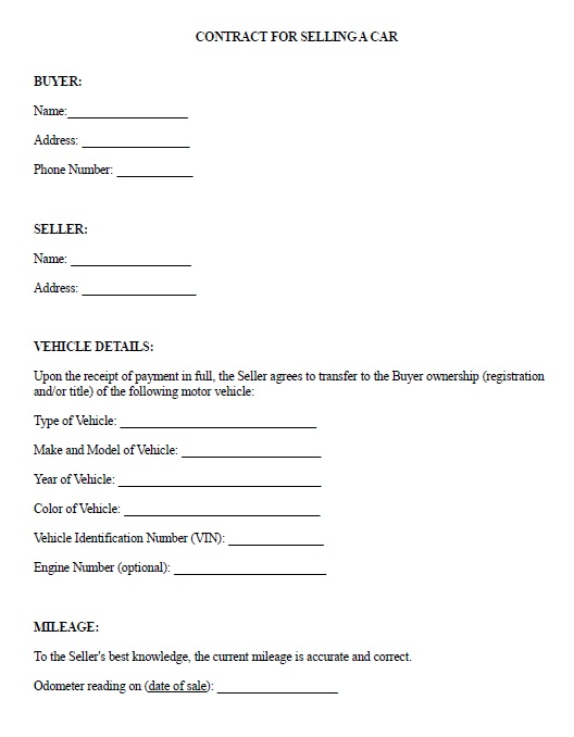 simple contract for sale of car