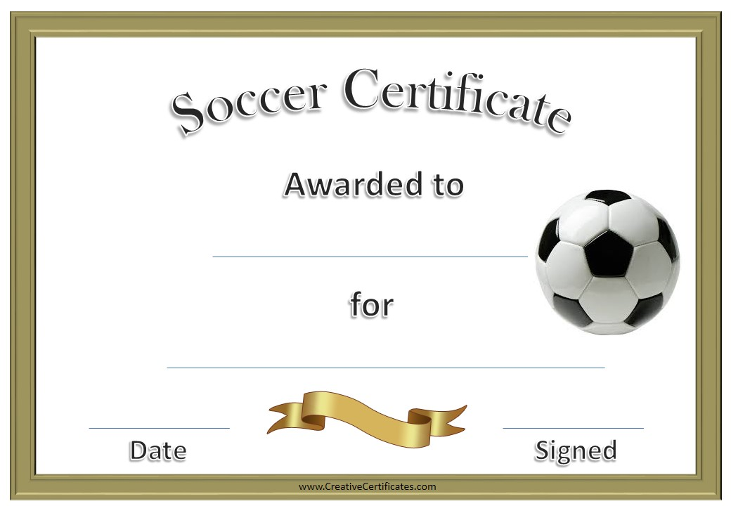 soccer certificate awards  13 Free Sample Soccer Certificate Templates - Printable Samples