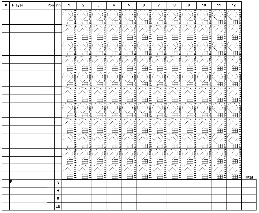 Softball Score Sheet Baseball Scoresheet Baseball Score Sheet