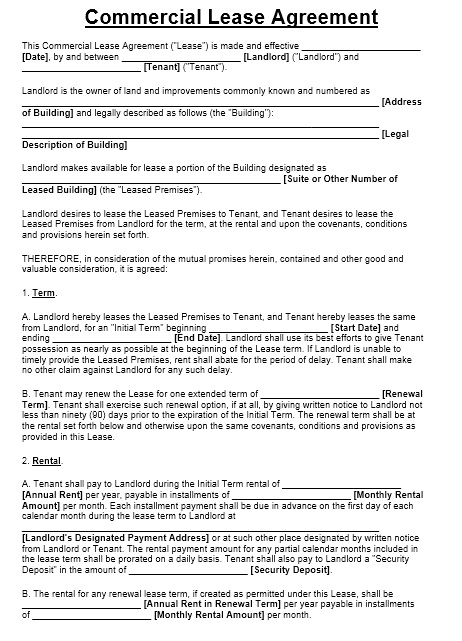 Free Sample Office Sublease Agreement Templates  Printable Samples