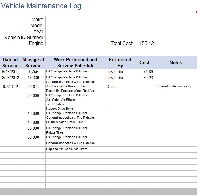 Free Sample Car Maintenance List Templates  Printable Samples
