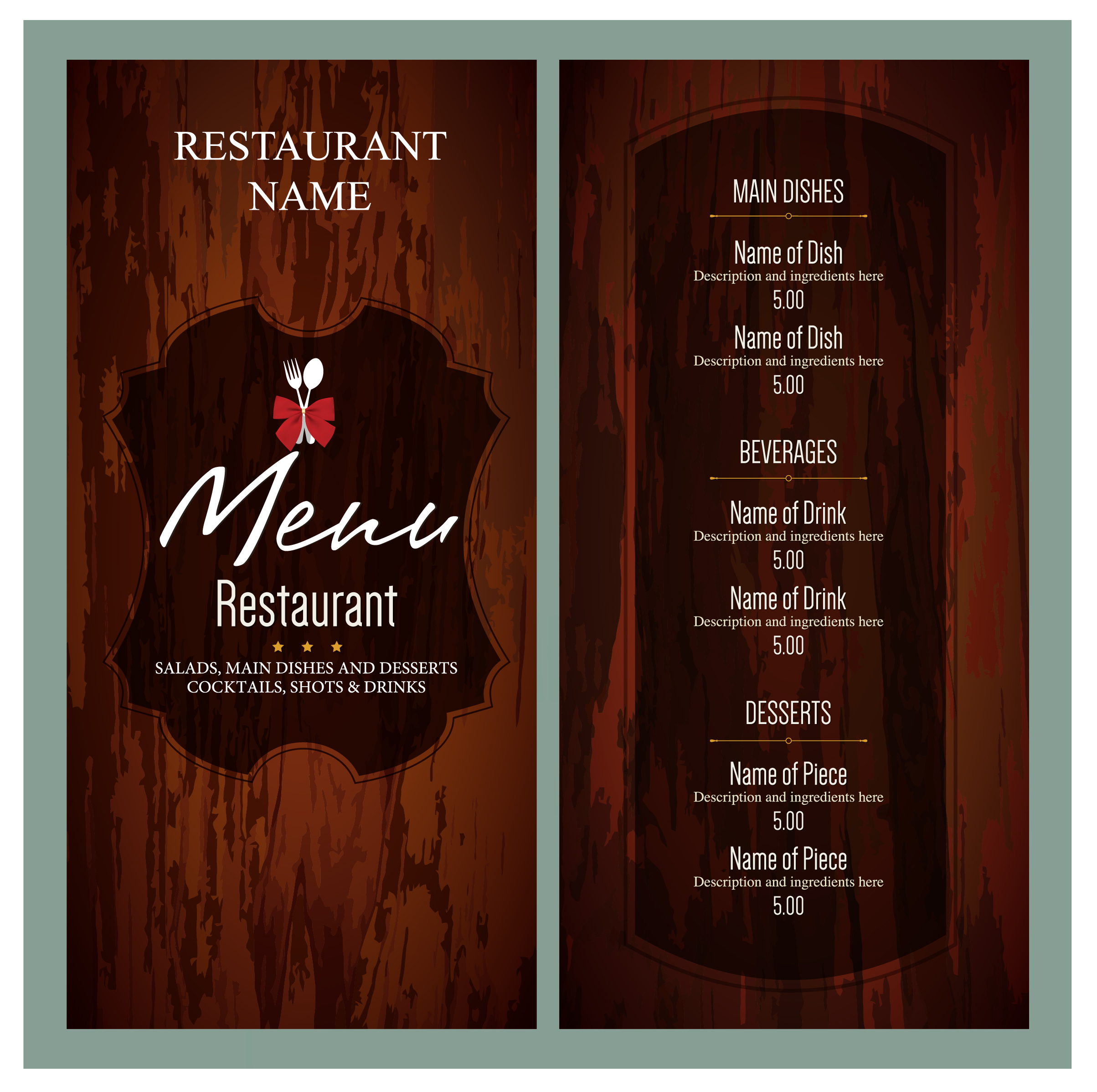 10 free sample italian menu templates printable samples for Resturant menu templates