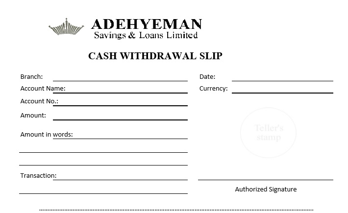 7 free sample atm withdrawal receipt templates printable for Withdrawal slip template