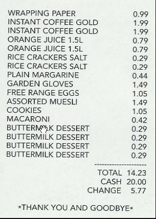 Sample Grocery Receipt Kleobeachfixco - Shopping receipt template