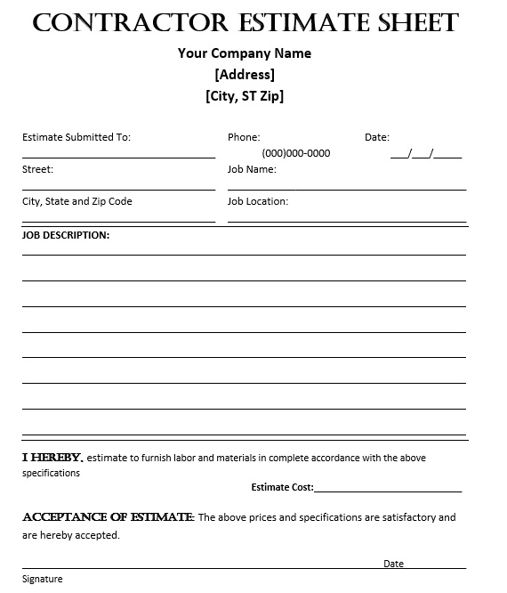 Free Sample Bid Estimate Evaluation Form  Printable Samples