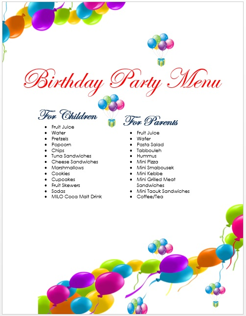 here is preview of another sample birthday menu template created using ms word