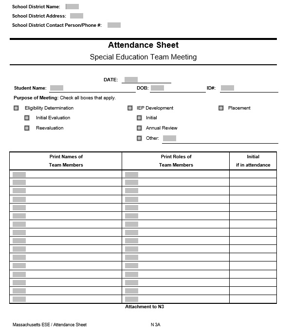 Free Sample Class Attendance Sheet Templates  Printable Samples