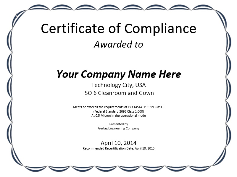 Free Sample Professional Compliance Certificate Templates