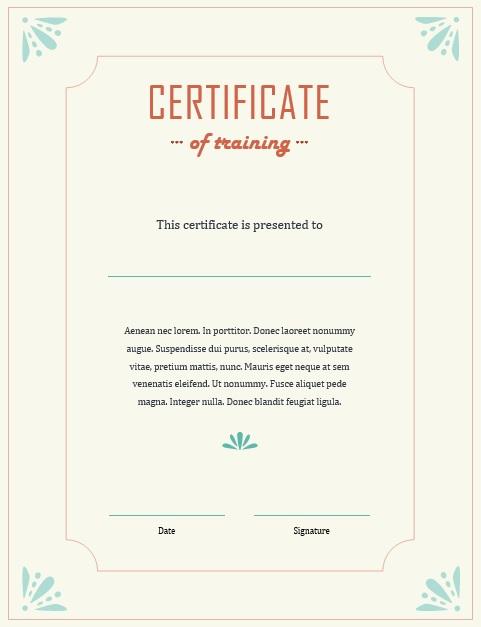 training certificates templates