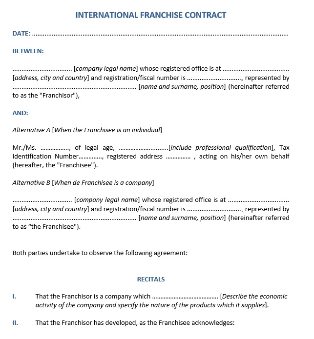 Free Sample Franchising Agreement Templates  Printable Samples