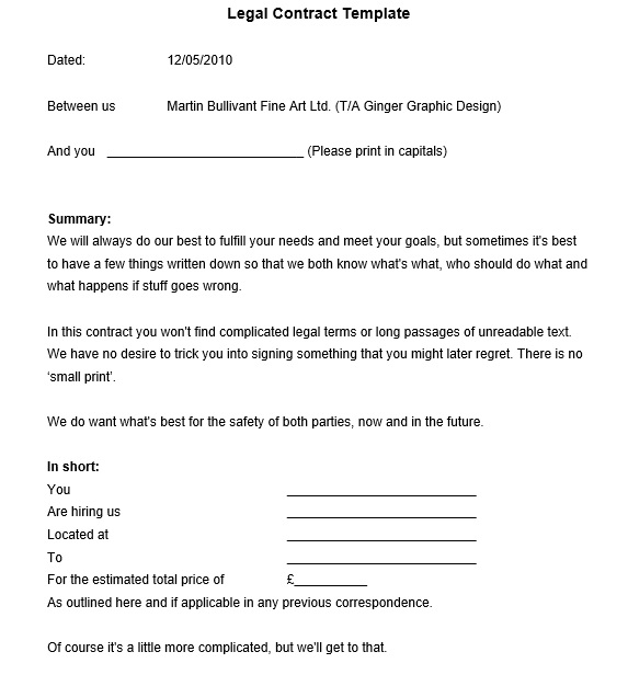 Free Sample Legally Binding Agreement Templates Printable Samples - Legal agreement