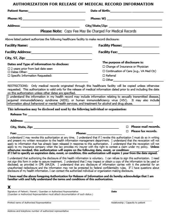 Here Is Preview Of Another Sample Printable Medical Authorization Form  Template In PDF Format,
