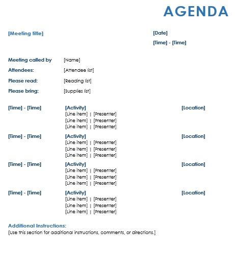 formal meeting agenda sample