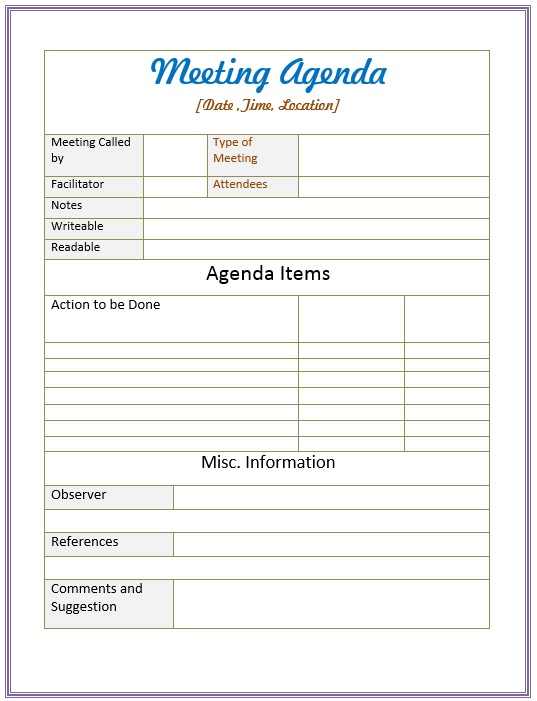 22/02/2021· keep your meetings running smoothly with this classic agenda template. 10 Free Sample Informal Agenda Templates For Your Casual Meetings Printable Samples