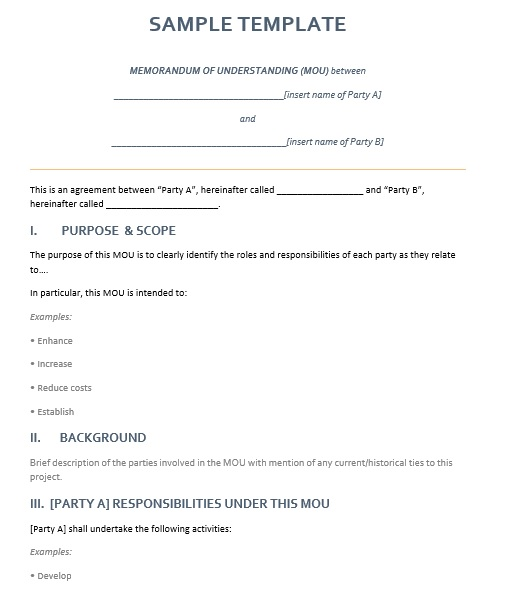 Free Sample Memorandum Agreement Templates  Printable Samples