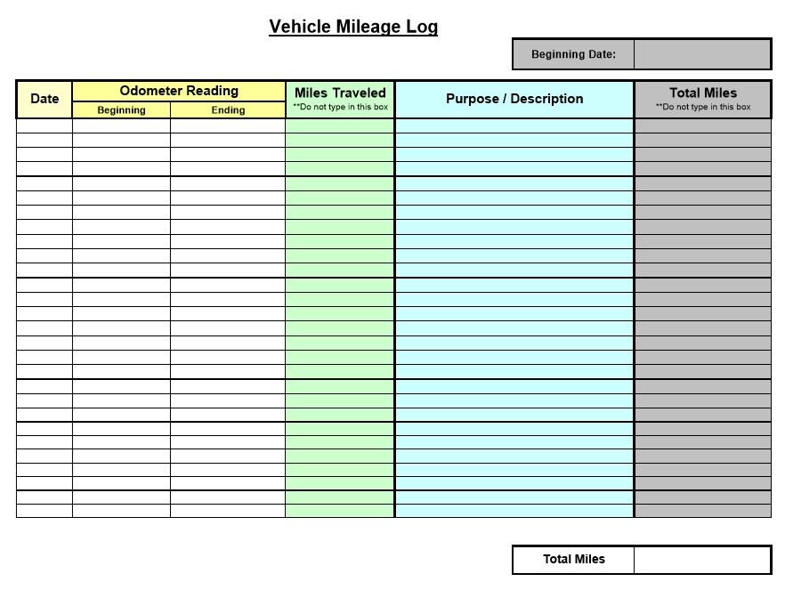 vehicle milage log