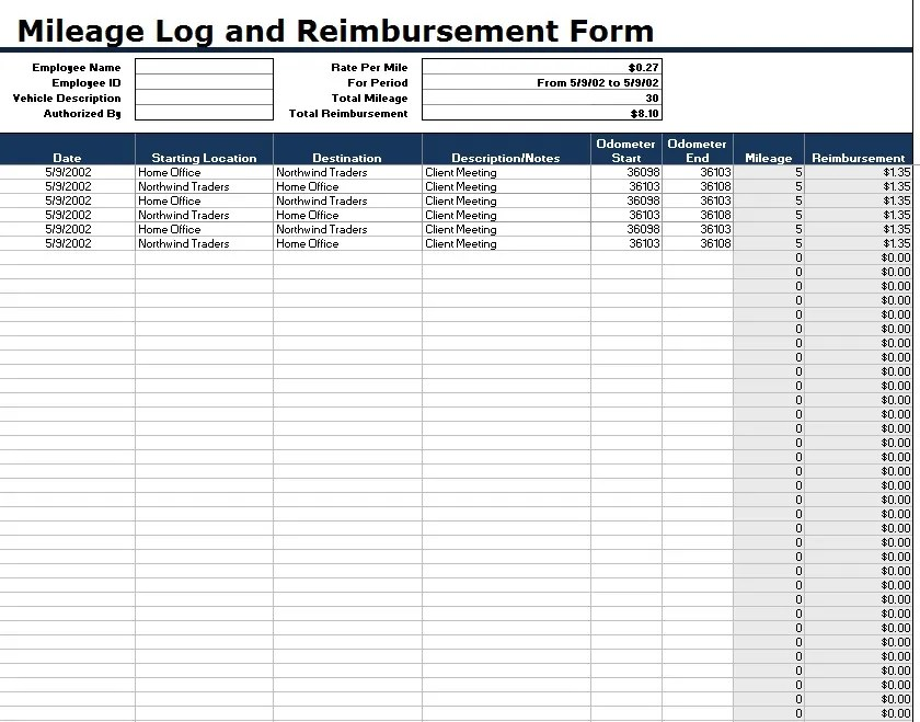 Free Sample Mileage Log Templates  Printable Samples