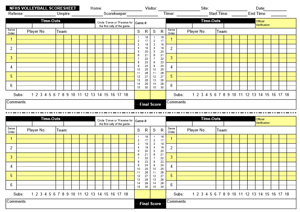 8 Free Sample Volleyball Score Sheet Templates