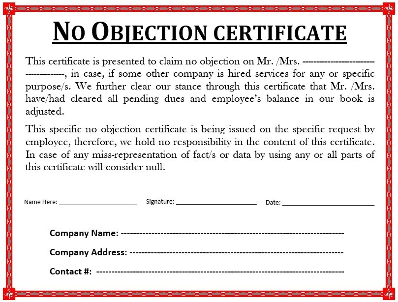 no objection certificate for employee