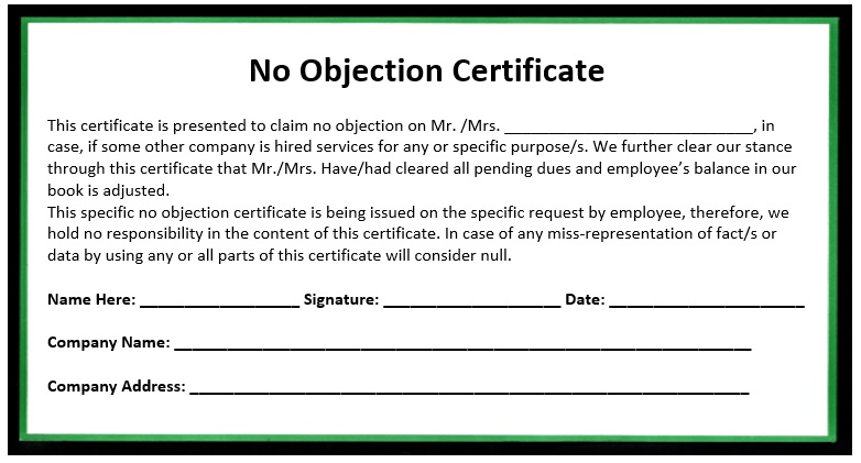 No Objection Letter For Business. 10 Free Sample No Objection Certificate  Templates Printable Samples . No Objection Letter For Business  No Objection Letter For Business