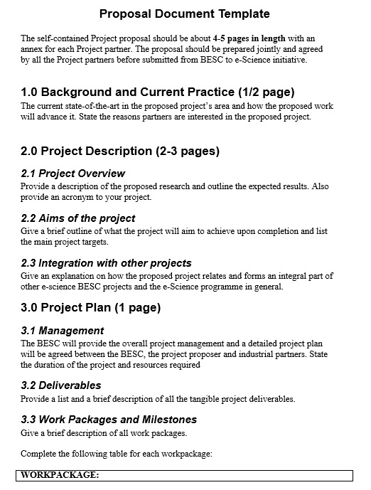 Free Sample Project Bid Proposal Templates  Printable Samples