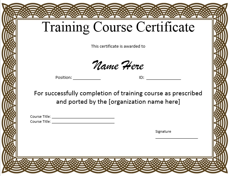 11 free sample training certificate templates printable for Training certificate template free