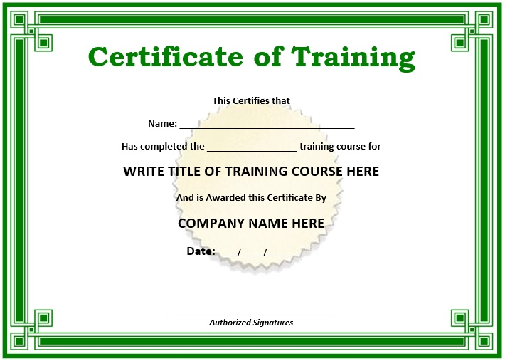 Free Sample Training Certificate Templates  Printable Samples