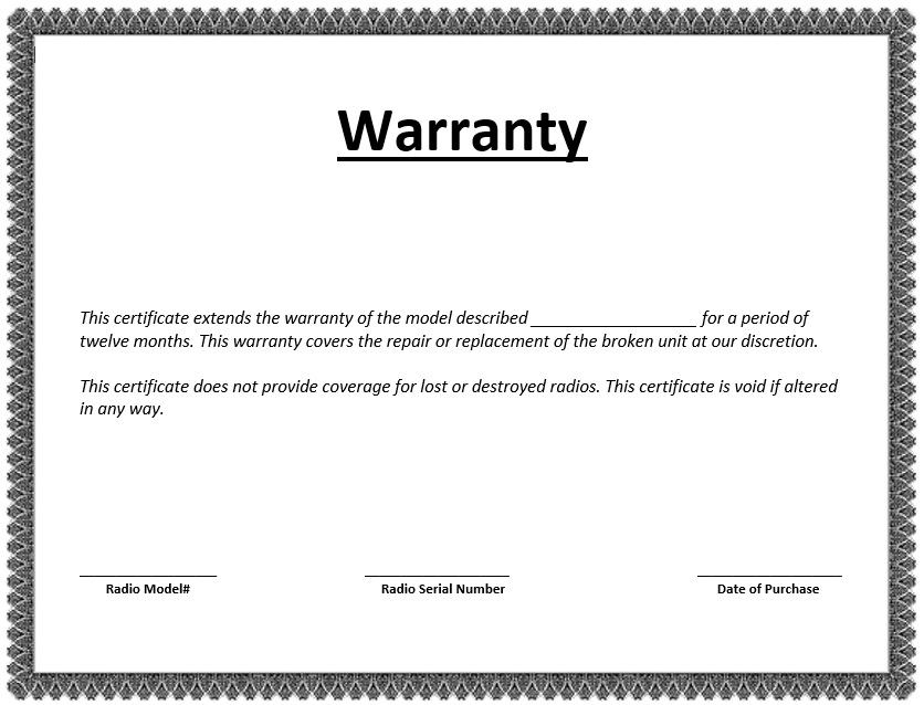 Free Sample Warranty Certificate Templates  Printable Samples