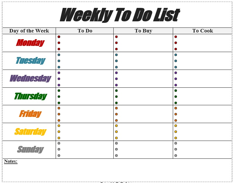 weekly todo list template  10 Free Sample Weekly To Do List Templates - Printable Samples