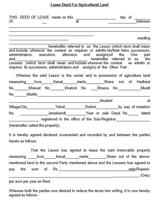 12 Free Sample Professional Farm Land Lease Agreement Templates