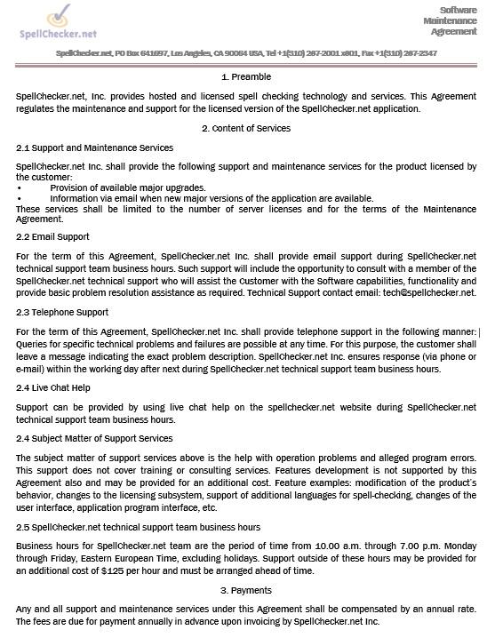 9 Free Sample Maintenance Agreement Templates Printable Samples