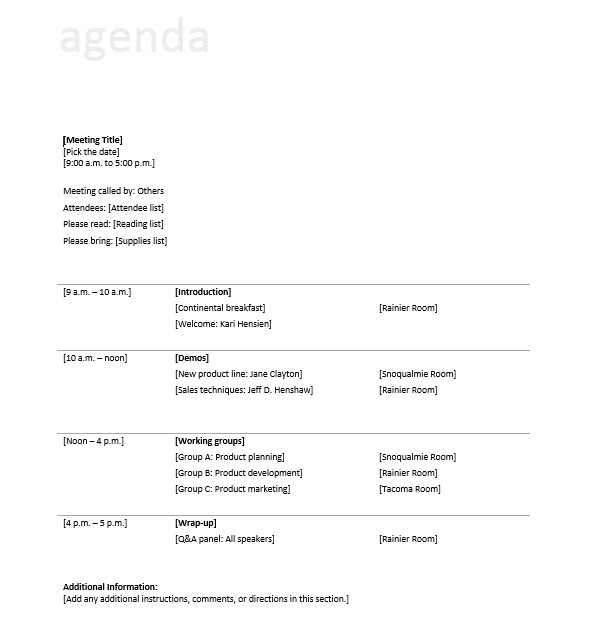 10 Free Sample Informal Agenda Templates For Your Casual Meetings ...