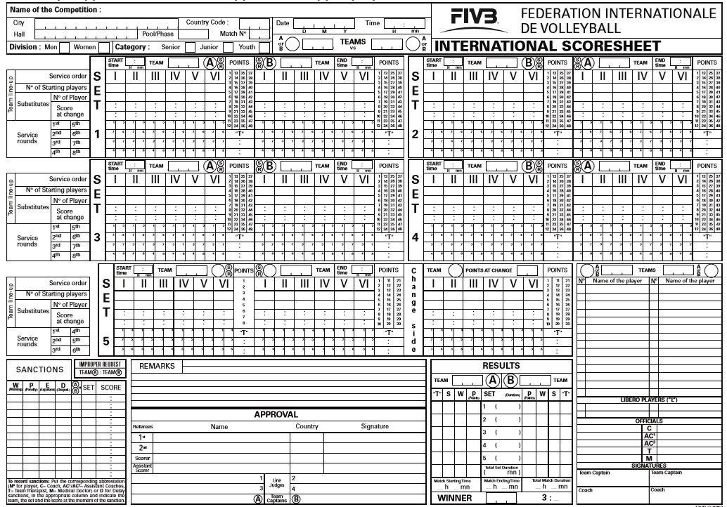8 free sample volleyball score sheet templates printable