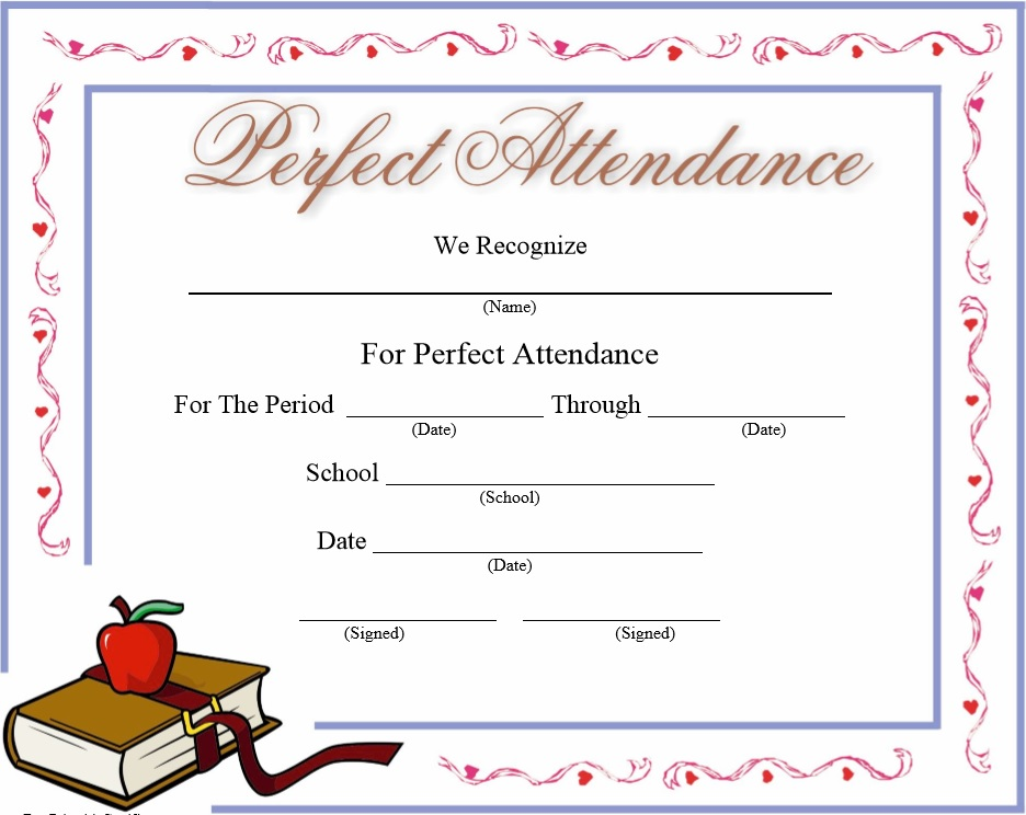 8 free sample attendance certificate templates printable samples here is preview of another sample perfect attendance certificate template in pdf format yelopaper Images