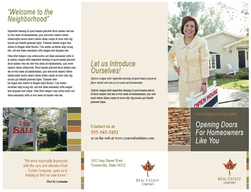 8 Free Sample Real Estate Brochure Templates