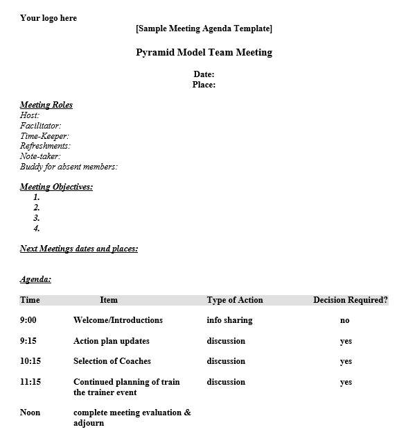 Ms Word Agenda Template. Meeting Agenda Template With Meeting