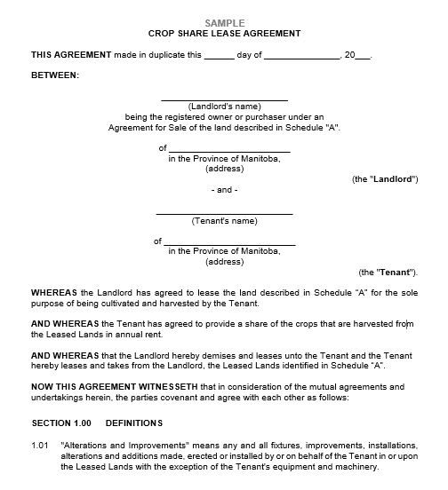 Free Sample Professional Farm Land Lease Agreement Templates