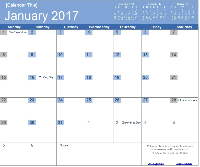 9 Free Sample Calendar Templates For 2017 Printable Samples