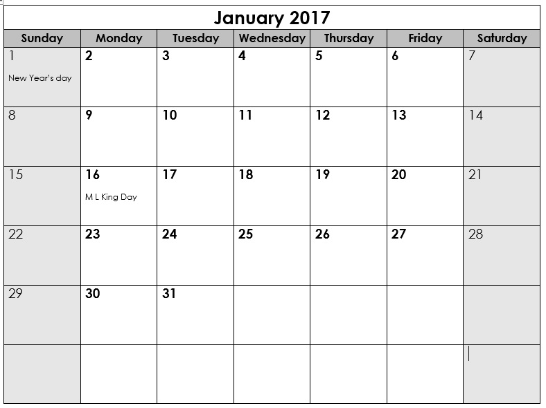 9 Free Sample Calendar Templates For 2017 – Printable Samples