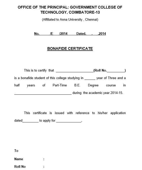 10 Free Sample Bonafide Certificate Templates Printable Samples – School Certificate Format