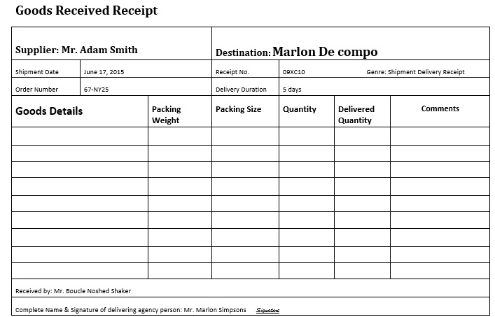 delivery receipt form sample
