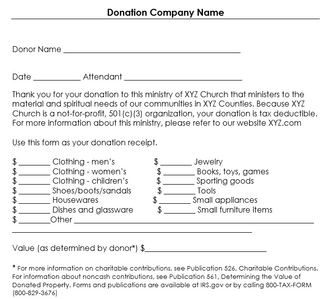 donation receipt forms