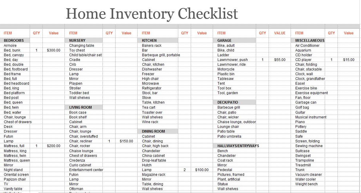 moving inventory list 8 Free Sample Moving Inventory List Templates - Printable Samples
