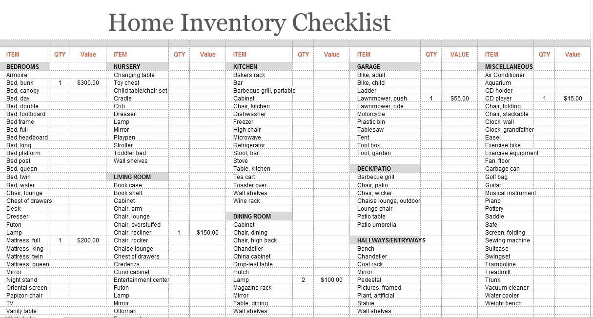 8 free sample moving inventory list templates printable samples. Black Bedroom Furniture Sets. Home Design Ideas