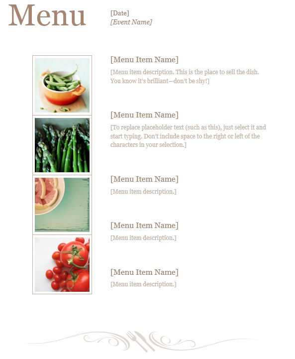 7 Free Sample Dinner Menu Templates - Printable Samples