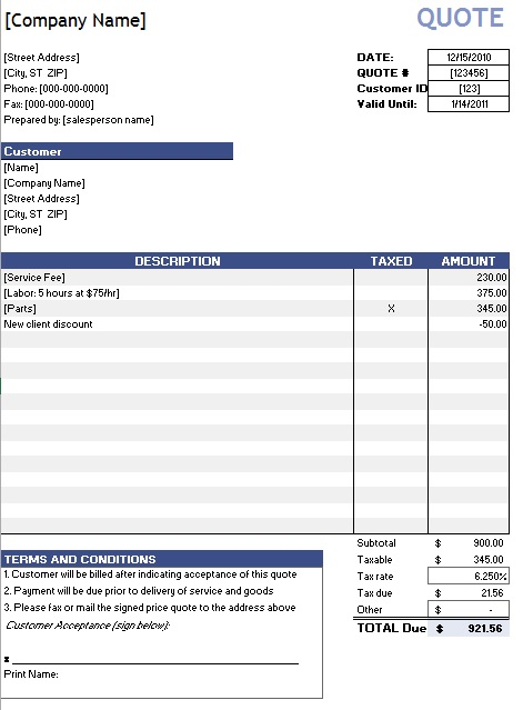 8 free sample rent quotation templates printable samples here is preview of another sample rent quotation template created using ms word altavistaventures Image collections