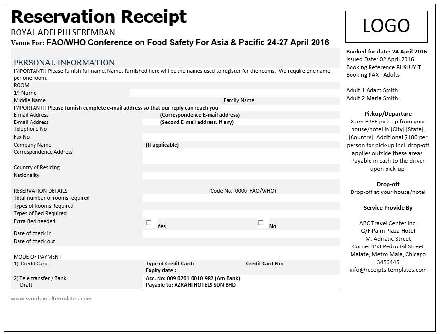 8 Free Sample Advance Booking Receipt Templates Printable Samples